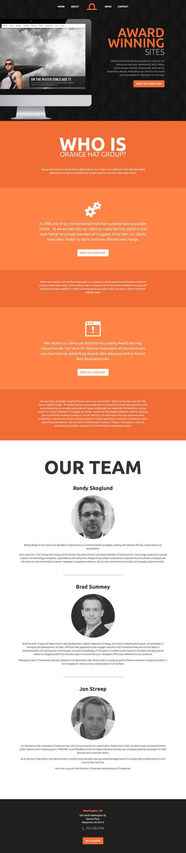Orange Hat Group is a new media mobilization firm, specializing in using Internet and mobile communication platforms to  - Best Webdesign inspiration on www.niceoneilike.com #Portfolio, #Agency, #Mobile, #html5, #css3, #jQuery, #Scrolling #Site, #Website, #Communication