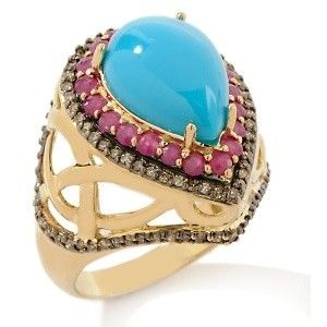 Sleeping Beauty Turquoise, Ruby and Chocolate Diamond 10K Ring at HSN.com