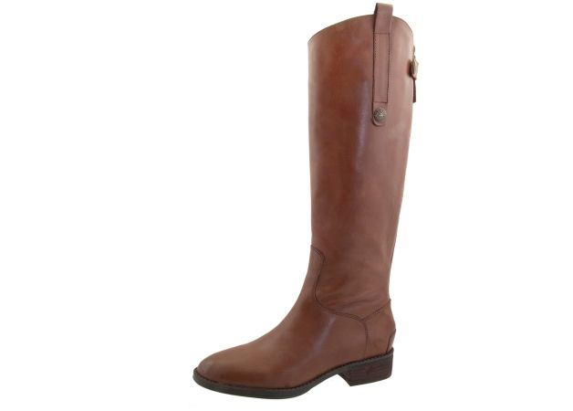 A sleek and sophisticated equestrian leather boot adorned with a long pull-on tab and a back zipper.