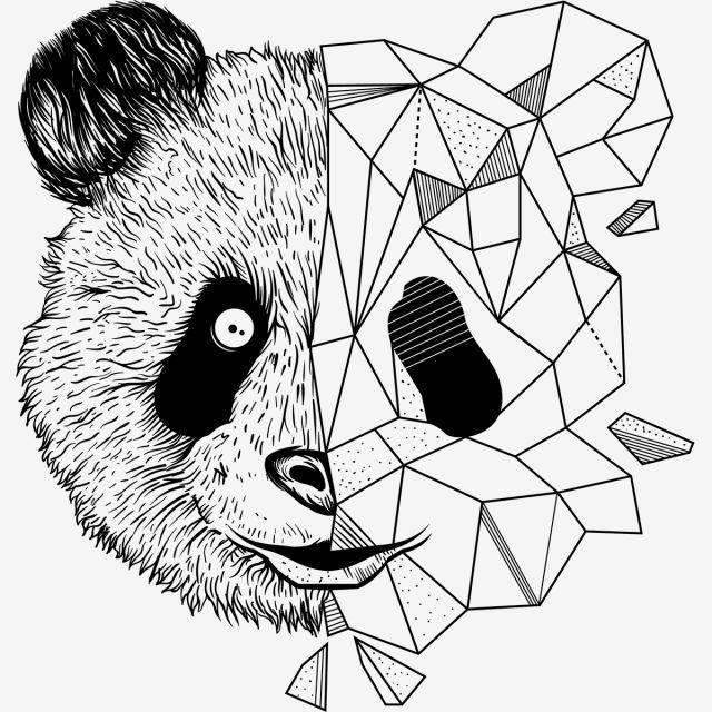 Geometric Panda Vector High Resolution Zoo Animals Clipart Artwork Panda Png And Vector With Transparent Background For Free Download Geometric Cute Panda Wallpaper Panda Wallpaper Iphone