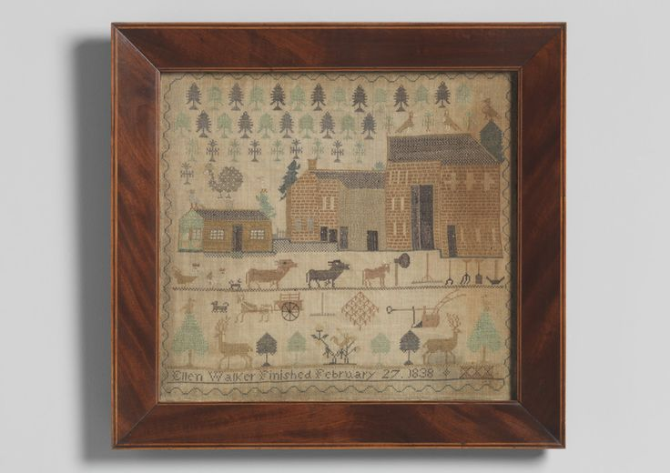 Ellen Walker, 1838. I LOOOOOVE the neat little forest in the background and the super-tall barns.  What an awesome and unique sampler!!!