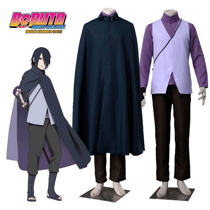 Boruto: Naruto the Movie Uchiha Sasuke Cosplay Costume Father Sasuke Costume Purple Ninja Costume Black Cloak Halloween Costumes #Affiliate