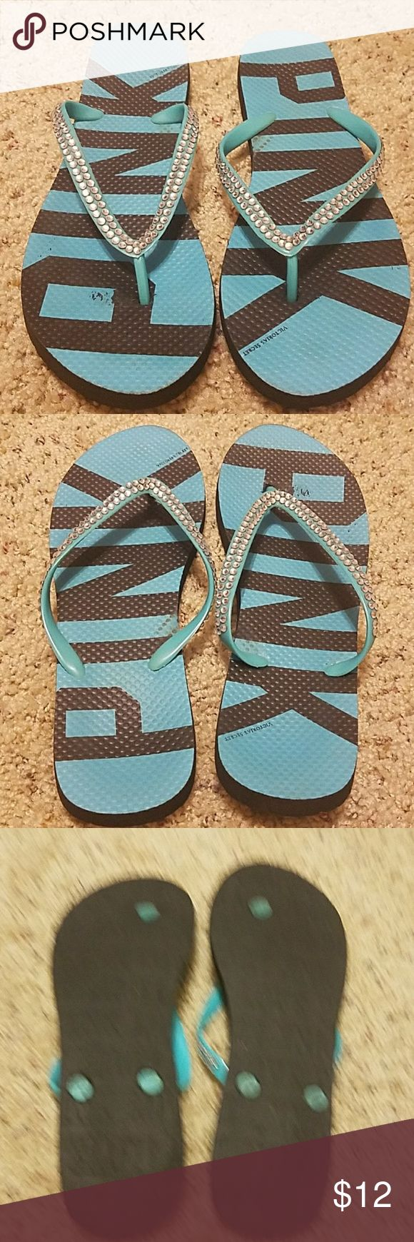 VS Pink Bling Flip Flops Super cute VS Pink flip flops. Black and turquoise with silver rhinestones. No stones are missing. Only wore once. Size small, fits 5/6. PINK Victoria's Secret Shoes