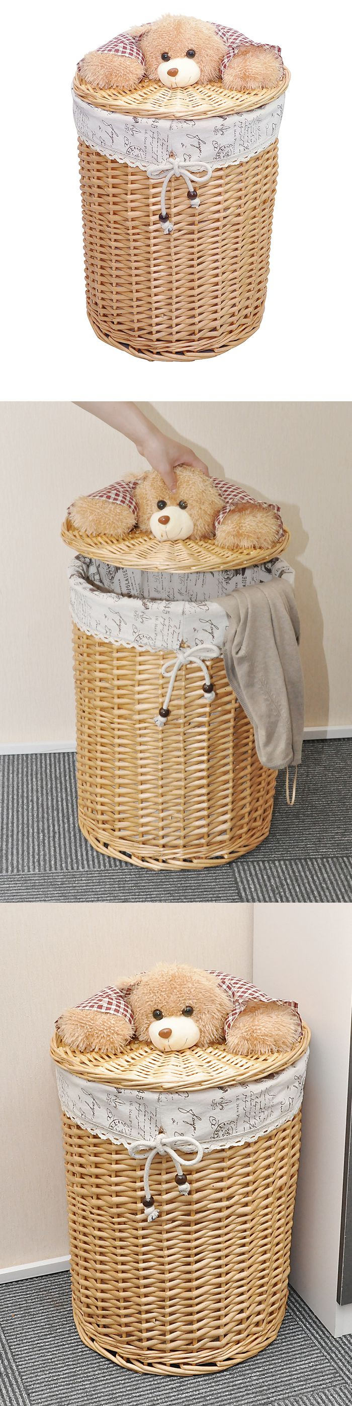 Round Rattan Wicker Laundry Hamper with Cotton Lining and Bear Lid, Hand Woven