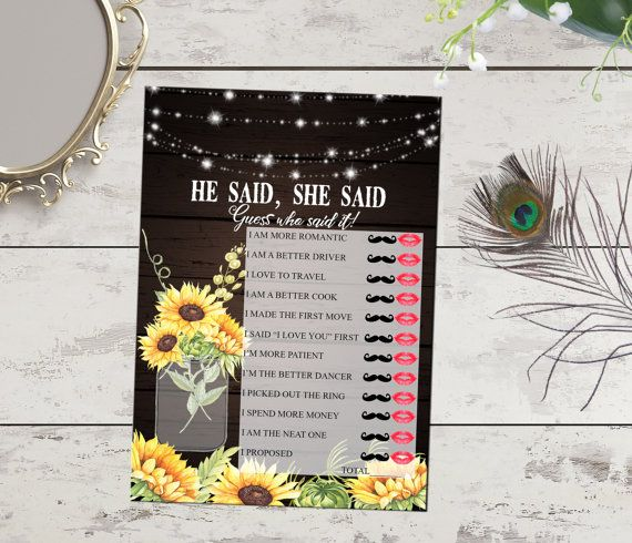 He said she said bridal shower game by PrintableMemoriesCo on Etsy