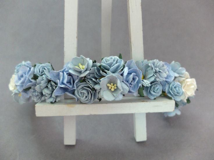 Blue flower headpiece - flower hair wreath -crown - flower headband - flower hair garland by musefleur on Etsy https://www.etsy.com/listing/249818752/blue-flower-headpiece-flower-hair-wreath