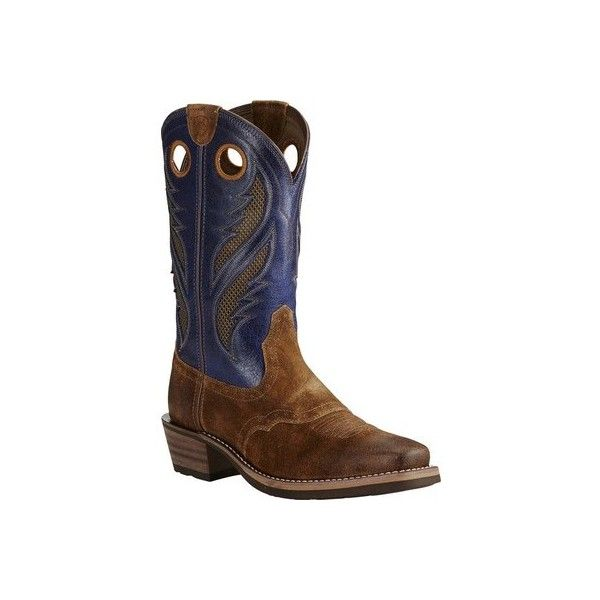 Men's Ariat Heritage Roughstock VentTEK Cowboy Boot Casual ($210) ❤ liked on Polyvore featuring men's fashion, men's shoes, men's boots, casual, cowboy boots, mens wide shoes, mens wide width shoes, mens boots, mens western cowboy boots and mens western boots