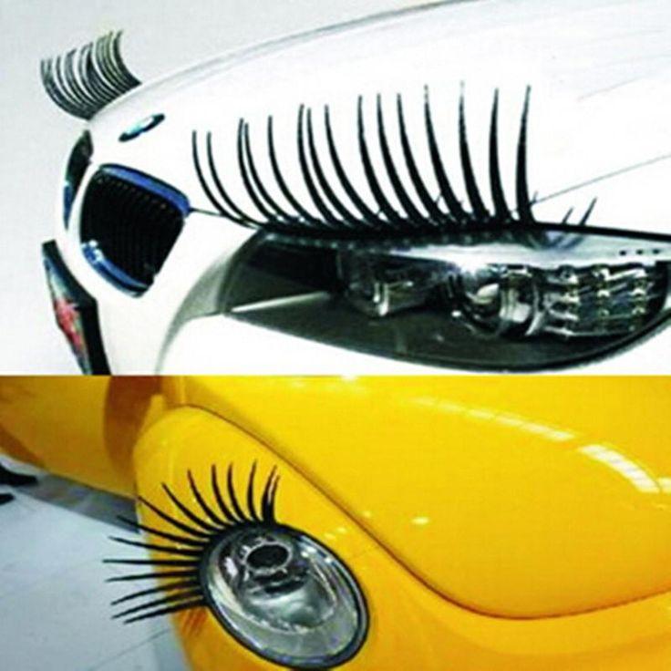 Headlight Sticker Car Eye Lash Funny Car Eyelashes For Car Headlights Lamp Lights Decoration Decals 2PCS