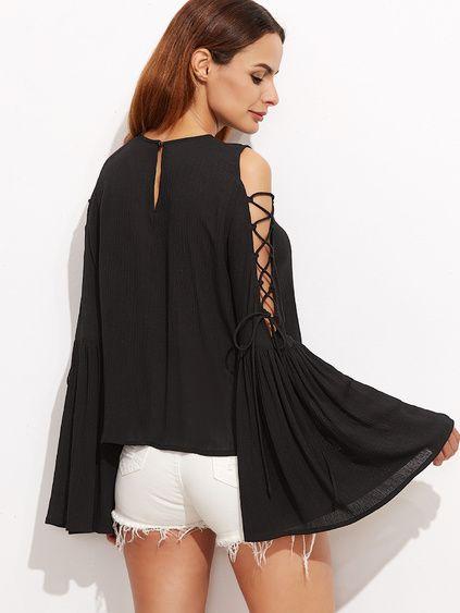 Black Lace Up Open Shoulder Bell Sleeve Crinkle Top