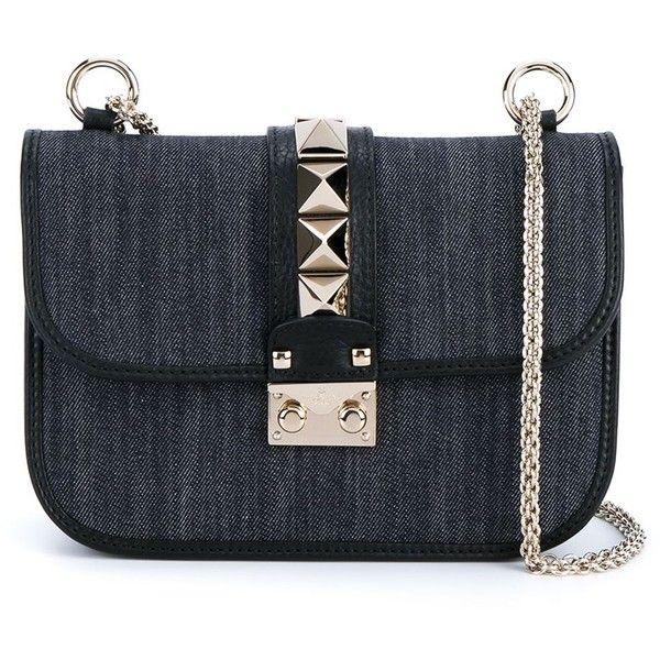 Valentino Garavani 'Glam Lock' denim shoulder bag ($1,895) ❤ liked on Polyvore featuring bags, handbags, shoulder bags, blue, shoulder handbags, chain shoulder bag, denim handbags, chain handbags and blue studded handbag