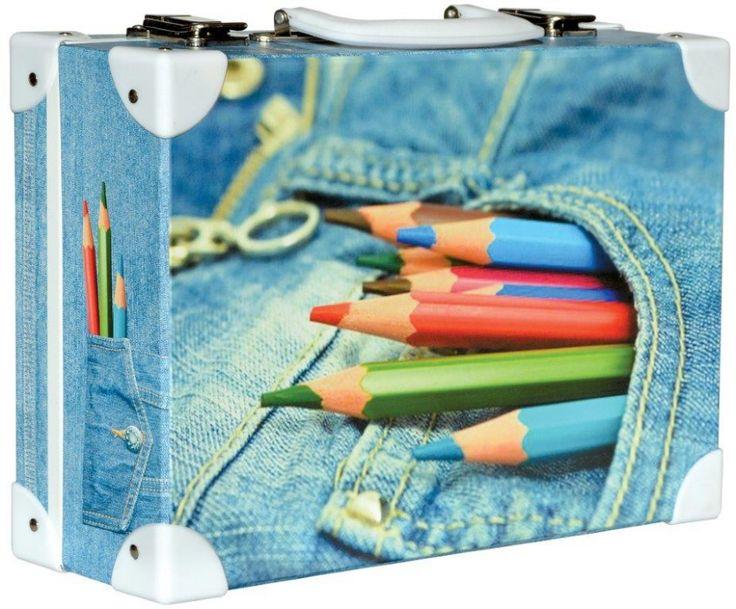 Školní kufřík malý - 33x23x10cm č. 21748 HK Malý Barevné tužky Jeans