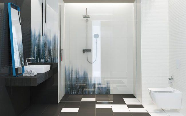 Biało czarna łazienka Opoczno Sky Tower