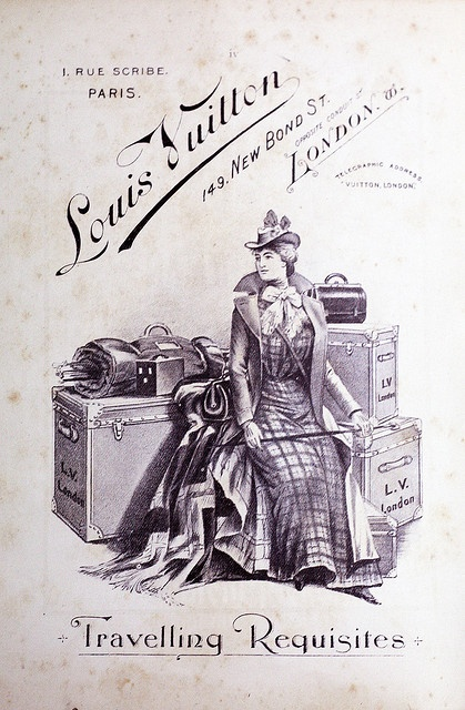 Louis Vuitton ; Luggage advertisement from the 1901 Orient Pacific Guide.