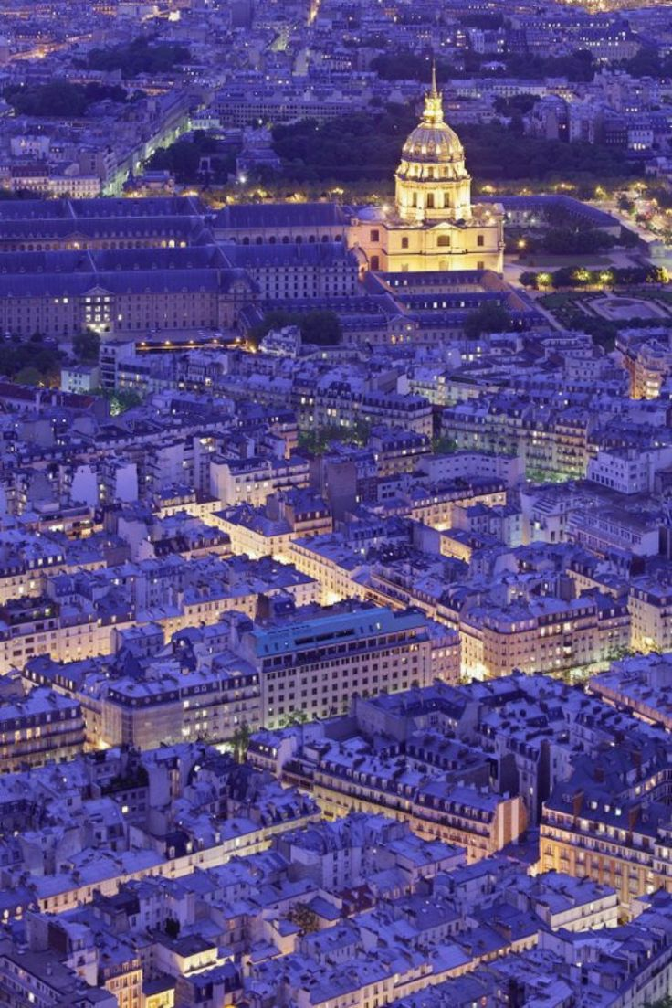 Invalides dome. Aerial View of Paris at Night, France.