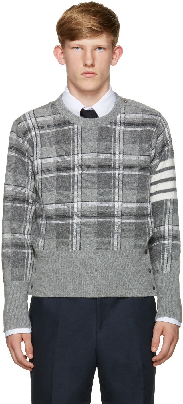 Thom Browne - Grey Plaid Sweater
