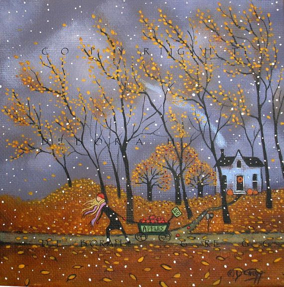 Apple Harvest a small original by Deborah Gregg  Invigorating, windy, crisp, fresh, wild, leaves everywhere, even a few flakes of snow swirling