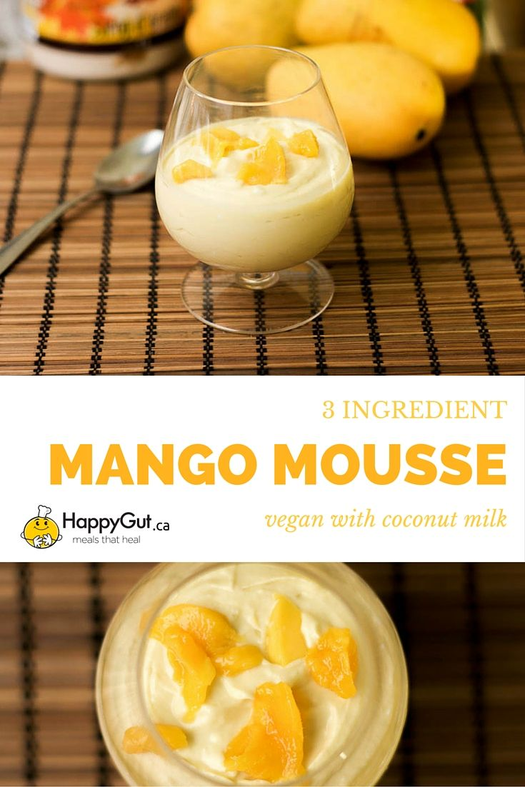 3-Ingredient Mango Mousse   From happygut.ca   #vegan #coconutmilk #dessert