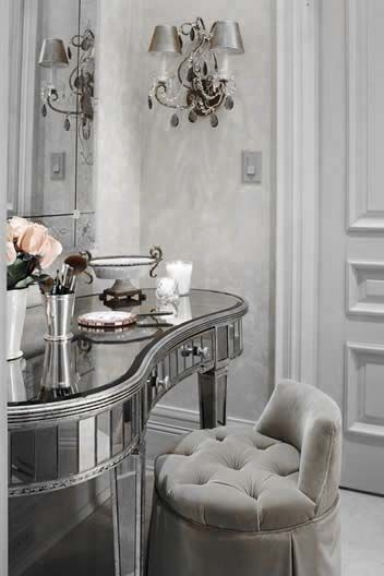 ♅ Dove Gray Home Decor ♅ mirrored dressing table and grey tufted chair