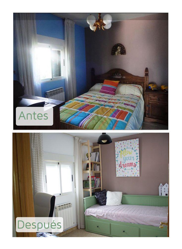 Antes y después de un dormitorio pequeño convertido en oficina en casa y habitación de invitados