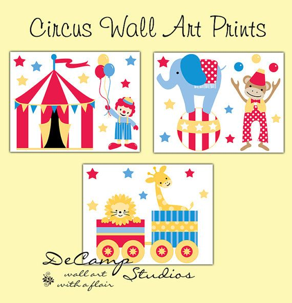 Circus 8x10 Wall Art Prints for baby boy or girl nursery and children's bedroom decor. Includes a circus tent, clown with balloons, elephant balancing on a ball, a monkey juggling, and a lion and giraffe being pulled in train cars.These wall art prints stand out with bright beautiful colors #decampstudios