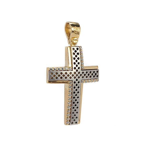 Σταυρός  δίχρωμος χρυσό Κ14  7958 ζιργκόν