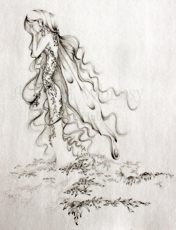 Heartbroken Fairy Fine Art an Original Drawing by ABitofWhimsyArt. LOVE her work!