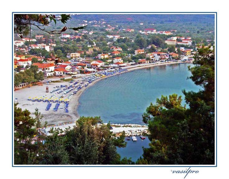 View of Skala Potamias in Thassos Island, Kavala, Macedonia_ Greece