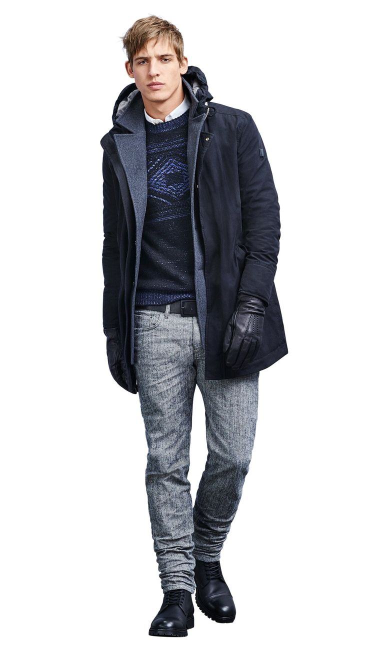 Dark blue jacket and sweater, gray jeans, black gloves and boots by BOSS Orange