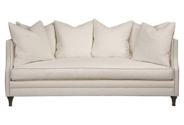 Dumont 85 welt contrast sofa white linen sofa linens for White linen sectional sofa