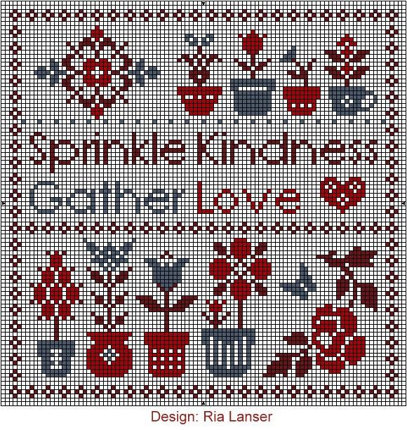 Design: Ria Lanser Sprinkle Kindness Gather Love heart flowers cross stitch chart