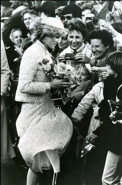 April 15, 1983:  Princess Diana on a walkabout in Ballarat, Victoria.