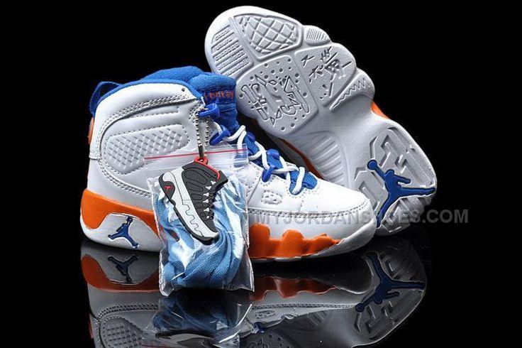 http://www.myjordanshoes.com/cheap-nike-air-jordan-9-kids-white-orange-blue.html CHEAP NIKE AIR JORDAN 9 KIDS WHITE ORANGE BLUE Only $79.00 , Free Shipping!