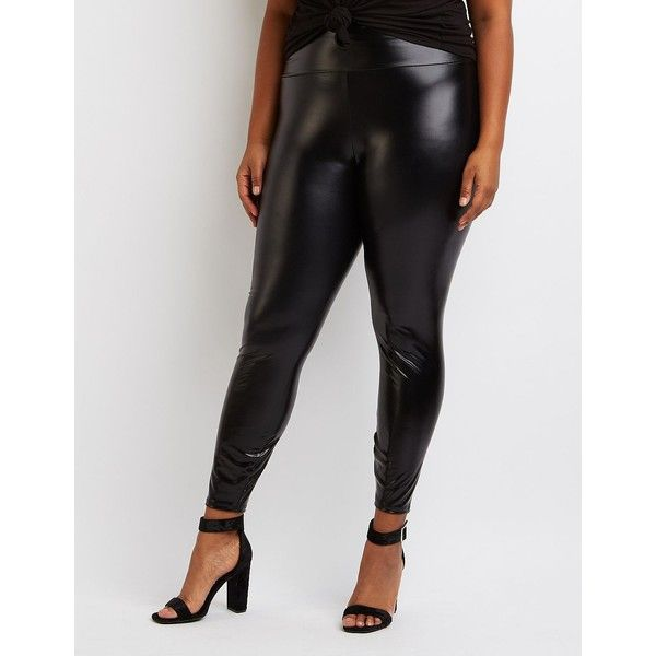 Charlotte Russe High-Rise Liquid Leggings ($18) ❤ liked on Polyvore featuring plus size women's fashion, plus size clothing, plus size pants, plus size leggings, black, high-rise leggings, wet look leggings, high-waisted leggings and shiny leggings
