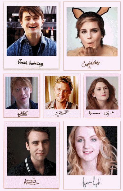 Daniel Radcliffe, Emma Watson, Rupert Grint, Tom Felton, Bonnie Wright, Matthew Lewis, Evanna Lynch. The big 7