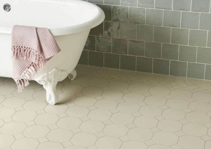 The York pattern in all white gives an interesting and modern twist to Victorian Floor Tiles. This keeps the space simple, so striking wall tiles and furniture can be added for a gorgeous finish. originalstyle.com
