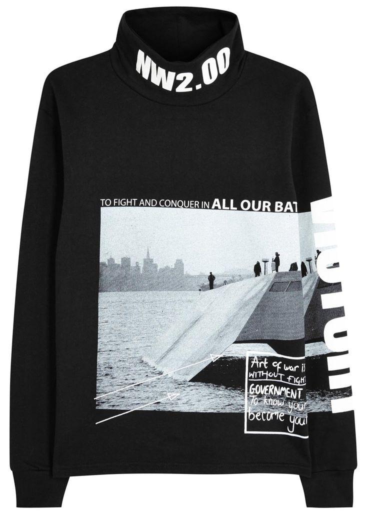 Hollow black printed cotton sweatshirt - Sweatshirts - All Clothing - Men