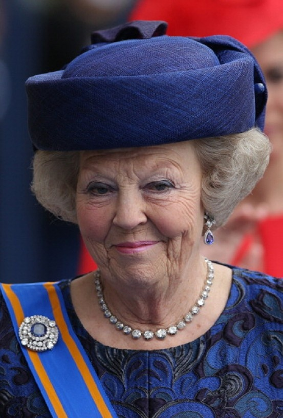 Princess Beatrix of the Netherlands leaves the Nieuwe Kerk in Amsterdam following the investiture of King Willem-Alexander of the Netherlands