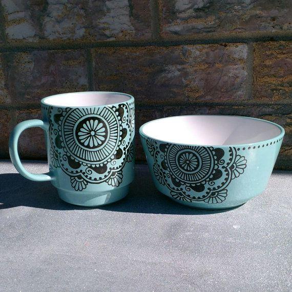 Henna Bowl and Mug Set, Blue and Black on Etsy, $25.00
