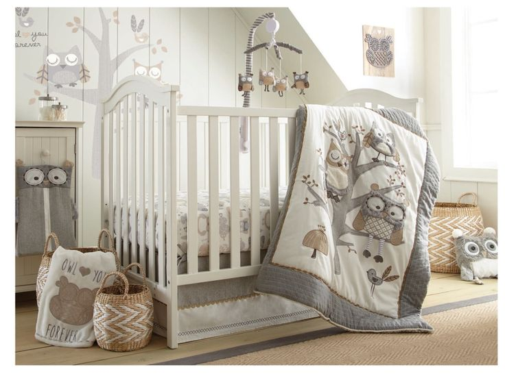 "The Night Owl Nursery Collection features a detailed family of owls embroidered and appliqued in linen, herringbone and soft fluffy textures. Grey, natural and ivory make up the color-way combined with cotton twill, jersey and eclectic patterns. The 5 Piece Crib Bedding Set includes a Quilt, 100% Cotton Crib Fitted Sheet, Dust Ruffle, Diaper Stacker and Large Wall Decals to create the perfect ""woodsy"" nursery."