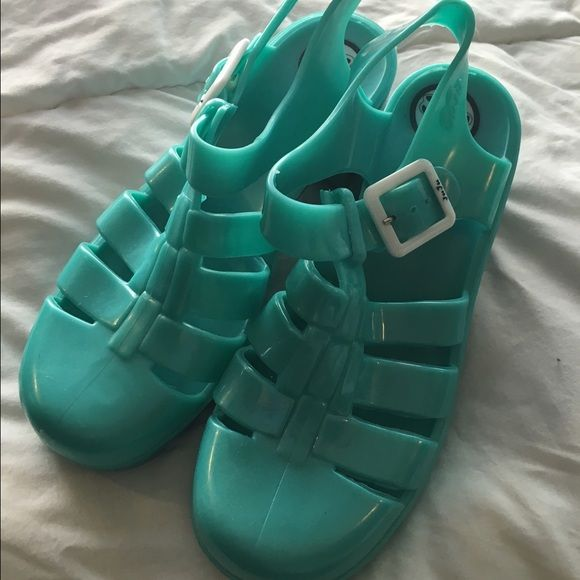 Juju green/teal jelly heeled sandals Juju jelly greenish teal heeled sandals. Purchased at urban outfitters Urban Outfitters Shoes Sandals