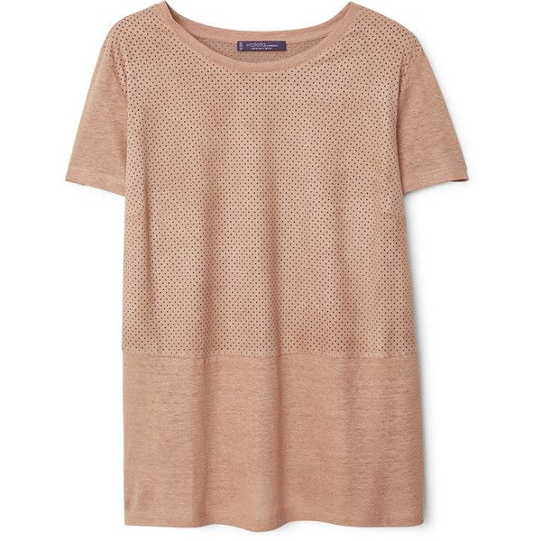 Violeta BY MANGO Violeta BY MANGO Mixed Laser-Cut T-Shirt ($70) ❤ liked on Polyvore featuring tops, t-shirts, mango t shirt, short sleeve tops, beige top, short sleeve tee and mango tops
