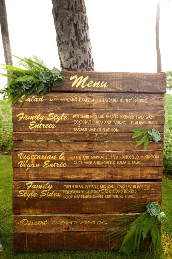 Stunning wooden wedding menu sign written beautifully in gold and accented with greenery and succulents- Maui, Hawaii Wedding - Anna Kim Photography