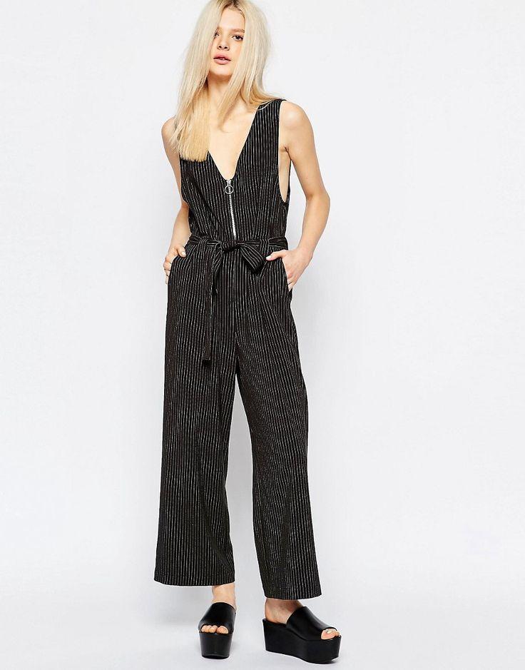 Monki+Pinstripe+Zip+Up+Tie+Waist+Jumpsuit