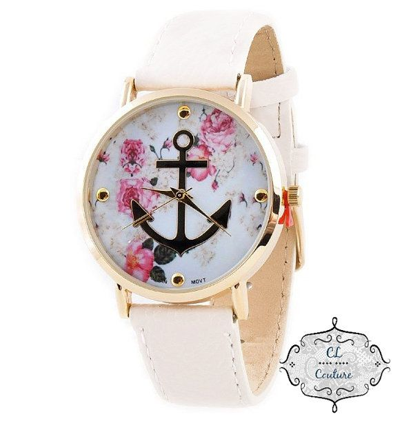 Hey, I found this really awesome Etsy listing at https://www.etsy.com/listing/215940169/floral-anchor-watch-nautical-watch