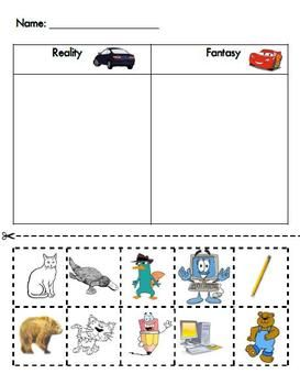 Cut and paste activity for sorting reality vs. fantasy.  I created this to go along with Kindergarten Reading Street Unit 2 Week 4.