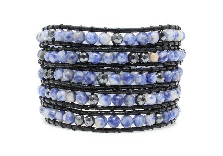 ABYSSE Wrap Bracelet by #Beautiz. Beautiful 5 layer handcrafted leather wrap bracelet. Real Sodalite stones. Stainless Steel and Nickel-Free Clasp. Shop here: http://www.beautiz.net/english/fashion-jewelry/bracelets/wrap-bracelets/abysse.html
