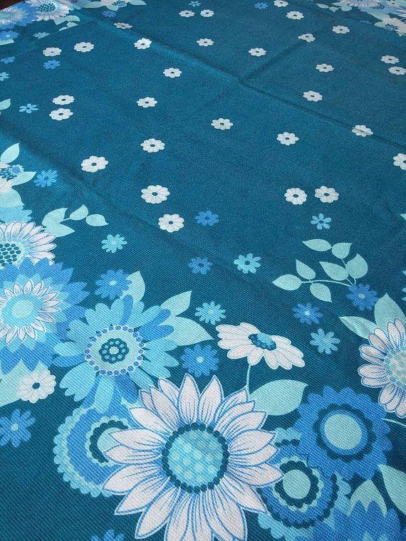 60s Mod Daisy Tablecloth // Retro Square Tablecloth // Blue