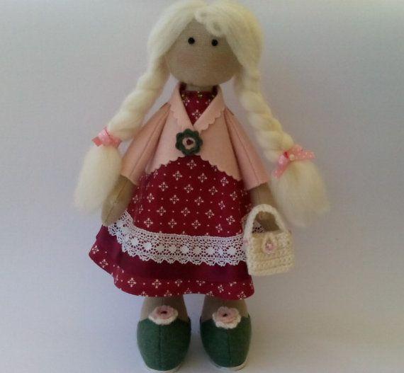 Handmade doll  fabric doll rag doll best present by PinkOliveGifts