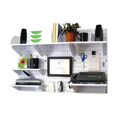 Wall Control Office Wall Mount Desk Storage and Organization Kit - White White with White Accessories - 10-OFC-300 WW