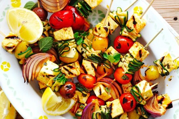 Vegetable haloumi and vegetable kebabs